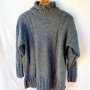 Cladyknit Irish Sweater Cozy Knit Oversized Grey